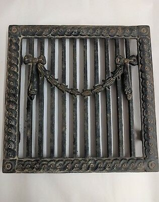 Antique Cast Iron Grill Grate 8x8 id 9x9 od Wall Ceiling Vent Ribbon