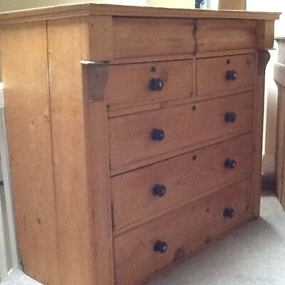 Waxed Victorian Antique Pine Chest of Drawers