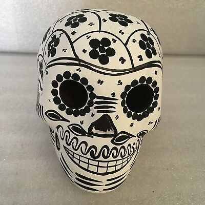 Beautiful Mexican  Sugar Skull Day of the Dead Hand Painted Ceramic