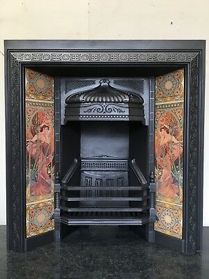 Original Restored Antique Cast Iron Victorian Tiled Insert Fireplace (QP054)
