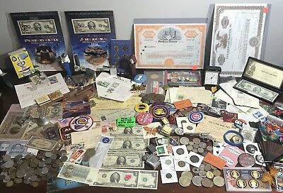 Junk drawer lot US & foreign coins & Currency tokens Lighters Ephemera & More!