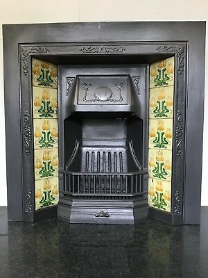 Original Restored Antique Cast Iron Art Nouveau Tiled Insert Fireplace (QP089)