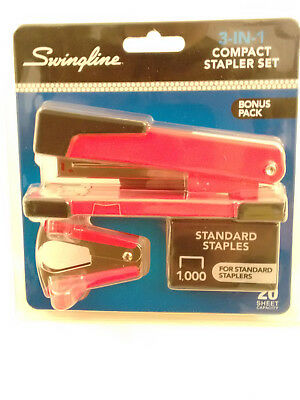 Red Swingline 3-In-1 Compact Stapler Set, 20 Sheet Capacity With 1,000 Staples