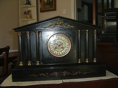 victorian antique  Large French Chiming Slate Mantle Clock 2