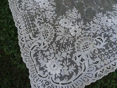 """Pr.antique Tambour Embroidered Net Lace Curtains 49"""" X 102"""""""