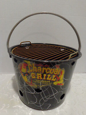 Vintage Columbian Porcelain Enamel Charcoal Grill In Great Rarely Used Condition