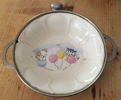 Antique Childs Warming Dish Bowl Kitten Puppy Balloon Vintage Colonial Plate Dog