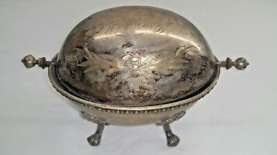 1870 Silverplate Oval Shape Antique Entree / Bun Warmer with Engraving