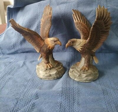 Vintage Pair of Royal Heritage Collection American Eagle Porcelain Sculptures