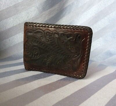 Vintage 70s Hand-Tooled Mexican Leather Men's Wallet