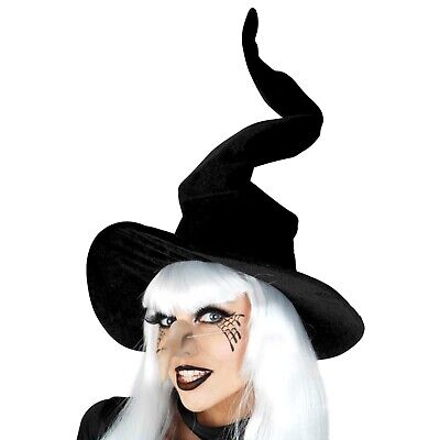 Black Velvet Witch Hat Halloween Costume Accessory Adjustable Wire Top