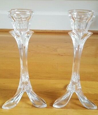 2  Vintage Bandol 8 1/4 inch Cristal d'Arques Candlestick Holders  24% Crystal