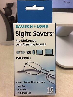 Bausch + Lomb Sight Savers Pre Moistened Lens Cleaning Tissues New Box Of 16