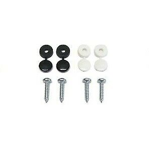 16 Pack Number Plate Screw Cap Fitting Fixing Black White Set Kit