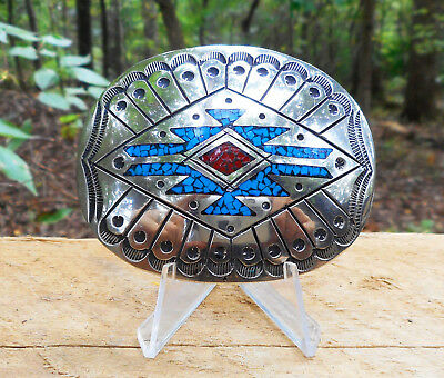 Vtg Signed Nickel Silver + Turquoise Navajo Belt Buckle Concho Native American