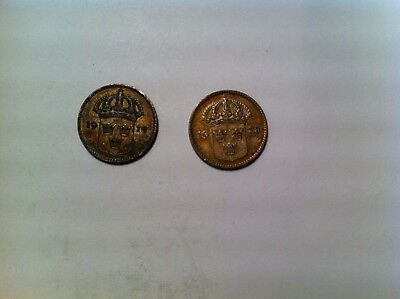 Lot of Sweden 10 Ore Silver Coins, 1919 and 1938, Nice Grades, Swedish (303)