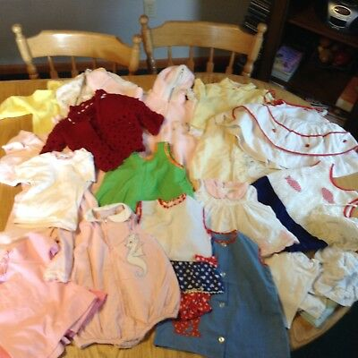 Lot of 25 pc vintage 1950s baby toddler clothes - dresses, rompers, hats sleeper