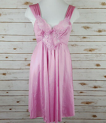 Vintage Olga Nightgown Size M Knee Length Short Mauve Stretch Lace Bow 91070