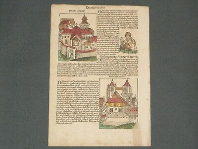 RARE Hand-Painted Nuremberg Chronicle Incunabula Schedel Leaf, Page CCVII, 1493