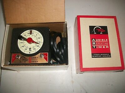 Vintage Simmon Omega AUDIBLE REPEATING TIMER 110V new in orig box!