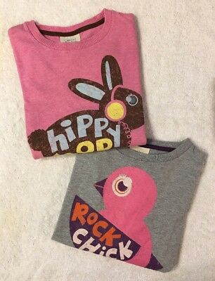 Mini Boden Size 7 8 Girls Bunny Chick Graphic Top Shirts Lot BTS Fall EUC