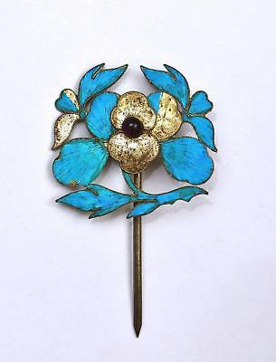 Early 20th Century Chinese Kingfisher Feather Pendant Hair Hat Pin