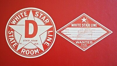 Titanic White Star Line Luggage Decal Tags First Class Passenger J Peterman Vtg