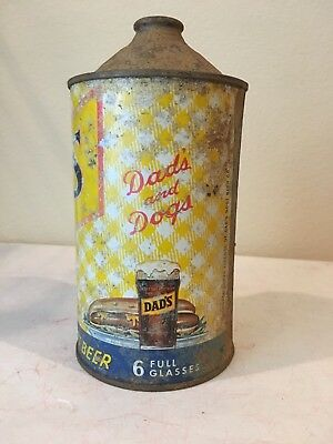 Dad's and Dogs cone top soda can root beer 32 oz quart 6 full glasses