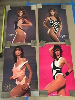 Lot Of 4 Super MODELS CAROL ALT & PAULINA PORIZKOVA 1980s ORIGINAL POSTERS