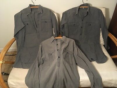 German WW2 Service Long Sleeve Shirt Lot Of 3. Large, Medium. Blue/Gray. Repro.