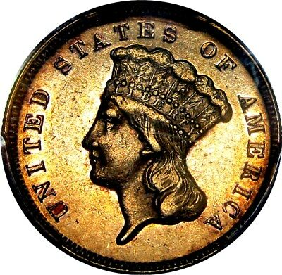 1871 $3 Gold Princess  **only 1300 Minted**   +++ Certified Pcgs Au-53 +++