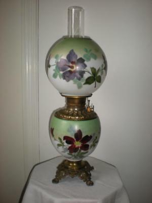 ATQ Victorian GWTW Hurricane Oil Lamp Hand Painted Floral ESTATE SALE