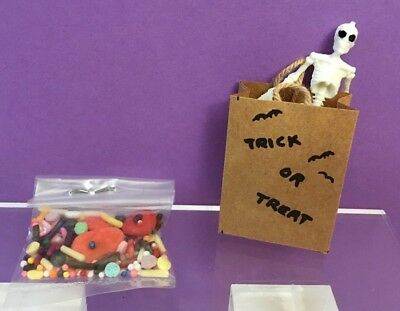 Vintage dollhouse halloween  1:12   Trick or Treat bag with candy & skeleton