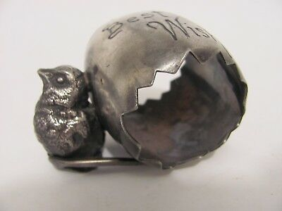 Antique Silver Plate Figural Chick Bird Napkin Ring Best wishes Wishbone