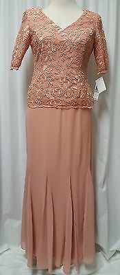 NWT Alex Evenings Faux 2-Piece Embroidered Bodice Gown Retail $199