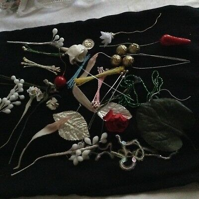 Vintage Millinery Lot, Antique Baby's Breath Flowers, Wax Bud Stems, Stamens