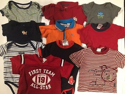 Lot of 10 one piece bodysuits rompers shirts football jersey Size 6-9 Months