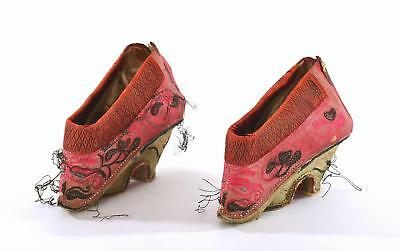 Late 19C Chinese Silk Embroidery Bound Feet Red Lotus Shoes