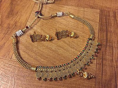 Indian Pakistani Ethnic Antique Gold PlateD Jewelry Pendant Necklace Earring