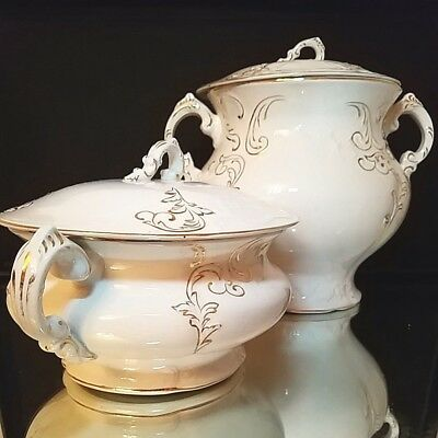 2 (Two) Piece ANTIQUE WARWICK CHINA Porcelain Chamber Pot Set in White and Gold