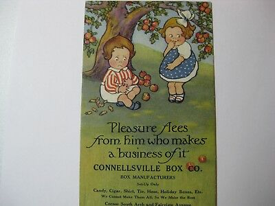 Vintage Advertising Connellsville, Pa Ink Blotter With Googly Eyed Girl And Boy