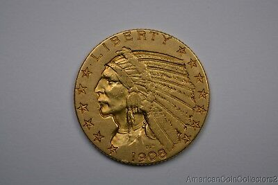 1908 $5 Dollar Indian Half Eagle Indian Gold Coin LOOK NO RESERVE GOLD  | 11566