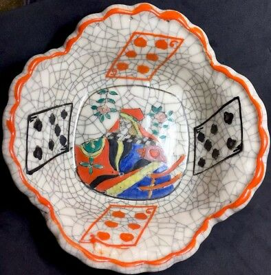 Historic Shino Ware Early Japan Antique Playing Cards Artisan French Court Bowl