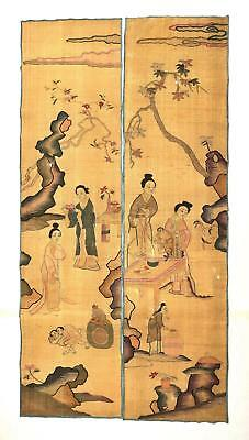 2 19C Chinese Kesi Kossu Gold Thread Silk Embroidery Panel Lady Textile Tapestry