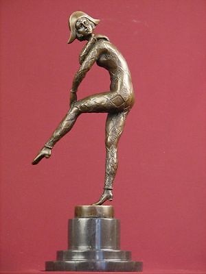 Signed Bronze Statue Art Deco Dancer Highly Detailed Sculpture On Marble Base
