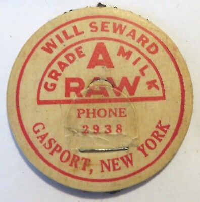 "Vintage Raw  Milk Dairy Bottle Cap 1-5/8"" Will Seward Gasport New York"