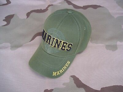 United States Marines Baseball Type Hat/cap-Adjustable-O.d.green/gold-Marines