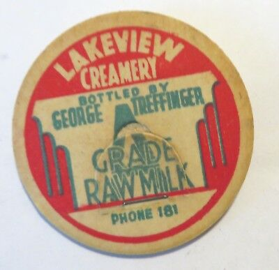 "Vintage Raw  Milk Dairy Bottle Cap 1-5/8"" Lakeview Creamery George Treffinger"
