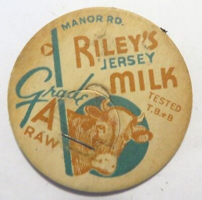 "Vintage Raw  Milk Cream Bottle Cap 1-5/8"" Rileys Dairy Manor Road"