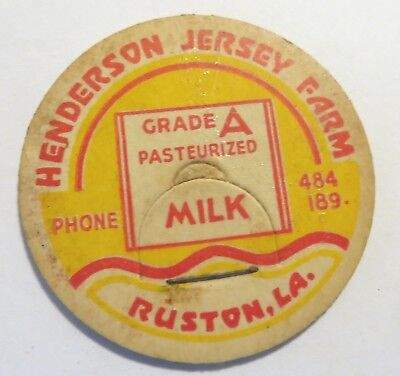 "Vintage Milk Dairy Bottle Cap 1-5/8"" Henderson Jersey Farm Ruston Louisiana"